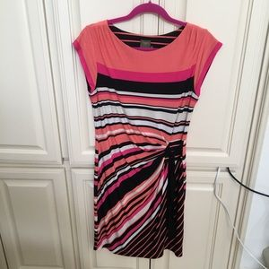 Taylor Pink Striped Ruched Front Dress Cap Sleeves